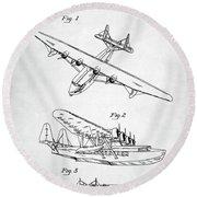 Round Beach Towel featuring the digital art Sikorsky Seaplane Patent by Taylan Apukovska