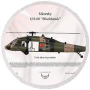 Round Beach Towel featuring the digital art Sikorsky Uh-60 Blackhawk by Arthur Eggers