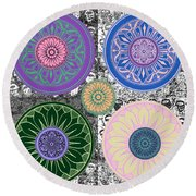 Silberzweig - Karma Mandela - Sapphire Rose - Round Beach Towel