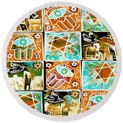 Silberzweig - Scenes Of Israel - Aqua Copper - Round Beach Towel