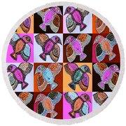 Silberzweig - Talavera Spirit Birds - Coral Round Beach Towel