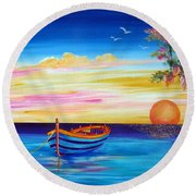 Silence And Tranquility At Sunset Round Beach Towel