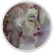 Round Beach Towel featuring the painting Wcp 1701 Silence by Becky Kim