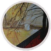 Round Beach Towel featuring the painting Silence by Leslie Allen
