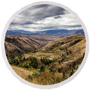 Silence Of Whitebird Canyon Idaho Journey Landscape Photography By Kaylyn Franks  Round Beach Towel