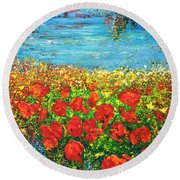 Round Beach Towel featuring the painting  Silence by Teresa Wegrzyn