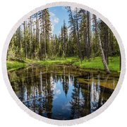 Silent Creek Round Beach Towel