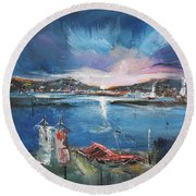 Silent Evening IIi Round Beach Towel