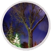 Round Beach Towel featuring the photograph Silent Night by Cat Connor