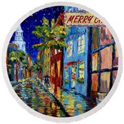 Silent Night Christmas Card Round Beach Towel