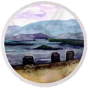 Round Beach Towel featuring the painting Silent Sentinels by Patricia Griffin Brett