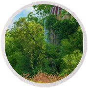 Silent Silo On Nottleson Road Round Beach Towel by Trey Foerster