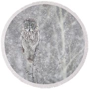 Silent Snowfall Landscape Round Beach Towel by Everet Regal