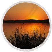 Silent Sunset Round Beach Towel by Penny Meyers