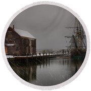 Silently The Snow Falls. Round Beach Towel