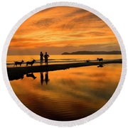 Silhouette And Amazing Sunset In Thassos Round Beach Towel