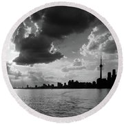 Silhouette Cn Tower Round Beach Towel