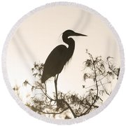 Silhouette In The Sunset Round Beach Towel