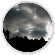 Silhouette Of Man On The Pass Himalayas Yantra.lv Round Beach Towel