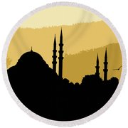 Silhouette Of Mosques In Istanbul Round Beach Towel