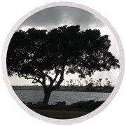 Silhouette Of Tree Round Beach Towel