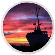 Silhouette Sunset Round Beach Towel