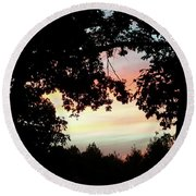 Fall Silhouette Sunset Round Beach Towel by Donna Brown