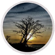 Silhouette Sunset Round Beach Towel by Doug Long