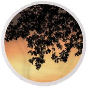 Silhouette Tree In The Dawn Sky Round Beach Towel