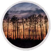 Silhouetted Sunset Round Beach Towel