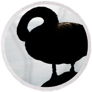 Silhouetted Swan Round Beach Towel