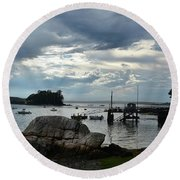 Silhouetted Views From Bustin's Island In Maine Round Beach Towel by DejaVu Designs