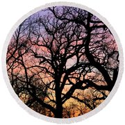 Round Beach Towel featuring the photograph Silhouettes At Sunset by Chris Berry