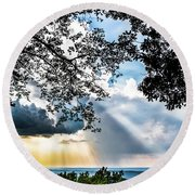 Round Beach Towel featuring the photograph Silhouettes At The Overlook by Shelby Young