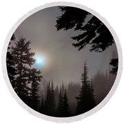 Silhouettes In The Mist 2008 Round Beach Towel
