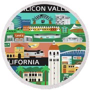 Silicon Valley California Horizontal Scene - Collage Round Beach Towel