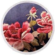 Silk Peonies - Kimono Series Round Beach Towel