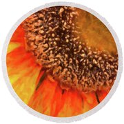 Round Beach Towel featuring the photograph Silk Sunflower by SR Green