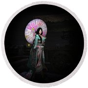 Silks And Parasols 2 Round Beach Towel