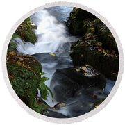 Round Beach Towel featuring the photograph Silky Falls by Baggieoldboy