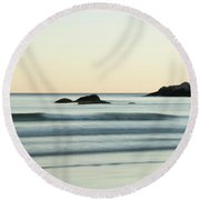 Round Beach Towel featuring the photograph Silky Water And Rocks On The Rhode Island Coast by Nancy De Flon