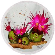 Silly Cactus Round Beach Towel