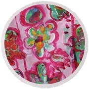 Silly Flowers Round Beach Towel
