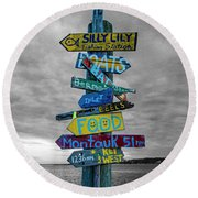 Silly Lily Fishing Station Sign Round Beach Towel