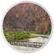 Silver And Black Bridges Over The Colorado, Grand Canyon Round Beach Towel