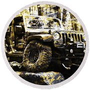 Silver And Gold Jeep Wrangler Jku Round Beach Towel