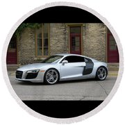 Round Beach Towel featuring the photograph Silver Audi R8 by Joel Witmeyer