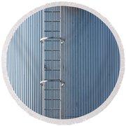 Silver Blue Silo With Steel Ladder. Round Beach Towel