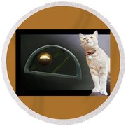 Cat, Silver And Gold  Brooch Round Beach Towel