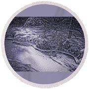 Silver Brook In Winter Round Beach Towel
